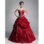 TS Couture Prom / Formal Evening / Quinceanera / Sweet 16 Dress - Burgundy Plus Sizes / Petite Ball Gown Strapless / Sweetheart Floor-length Taffeta Special Occasion Dresses