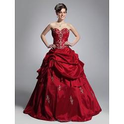 Prom Formal Evening Quinceanera Sweet 16 Dress Burgundy Plus Sizes Petite Ball Gown Strapless Sweetheart Floor Length Taffeta
