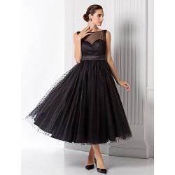 Formal Evening Dress Black Plus Sizes Petite A Line Princess Bateau Tea Length Tulle