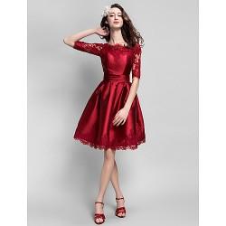 Cocktail Party Dress Burgundy Plus Sizes Petite Ball Gown Bateau Knee Length Satin