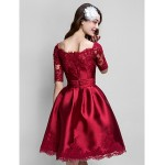 TS Couture Cocktail Party Dress - Burgundy Plus Sizes / Petite Ball Gown Bateau Knee-length Satin Special Occasion Dresses