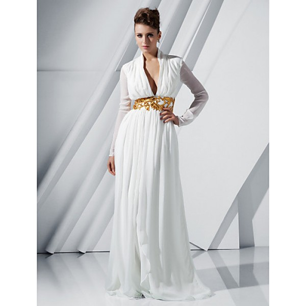 TS Couture Formal Evening / Military Ball Dress - Ivory Plus Sizes / Petite Sheath/Column V-neck Sweep/Brush Train Chiffon Special Occasion Dresses