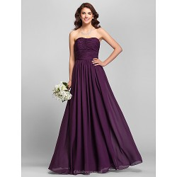 Floor-length Chiffon Bridesmaid Dress - Ruby / Grape / Royal Blue / Champagne Plus Sizes / Petite A-line Strapless