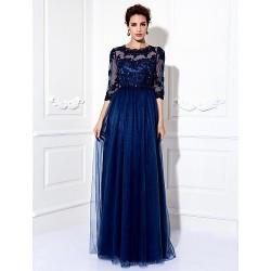 Formal Evening / Prom / Military Ball Dress - Dark Navy Plus Sizes / Petite A-line Jewel Floor-length Tulle