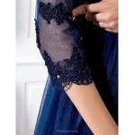 TS Couture Formal Evening / Prom / Military Ball Dress - Dark Navy Plus Sizes / Petite A-line Jewel Floor-length Tulle Special Occasion Dresses