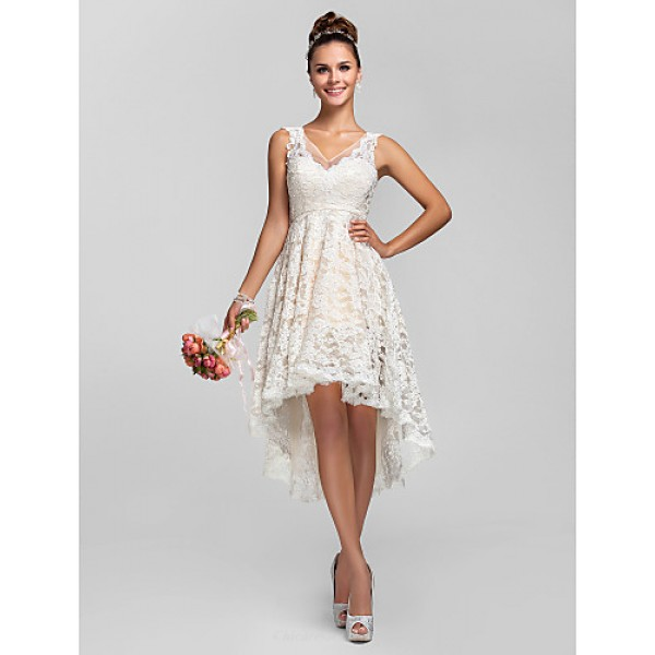 Cocktail Party / Prom / Homecoming / Wedding Party Dress - Ivory Plus Sizes / Petite A-line / Princess V-neck Asymmetrical Lace Special Occasion Dresses