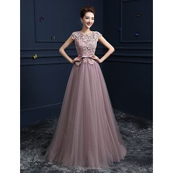 Formal Evening Dress Blushing Pink Ball Gown Jewel Floor Length Lace Satin Tulle