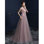 Formal Evening Dress - Blushing Pink Ball Gown Jewel Floor-length Lace / Satin / Tulle Special Occasion Dresses
