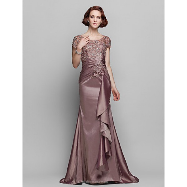 Trumpet/Mermaid Plus Sizes / Petite Mother of the Bride Dress - Brown Sweep/Brush Train Short Sleeve Taffeta / Lace Mother Of The Bride Dresses