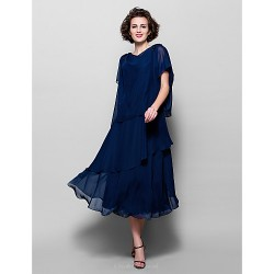 A Line Plus Sizes Petite Mother Of The Bride Dress Dark Navy Tea Length Short Sleeve Chiffon