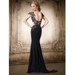 Formal Evening Dress - Black Plus Sizes / Petite Trumpet/Mermaid V-neck Floor-length Chiffon / Lace Special Occasion Dresses