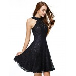 TS Couture Cocktail Party Dress - Black A-line Jewel Knee-length Lace Special Occasion Dresses