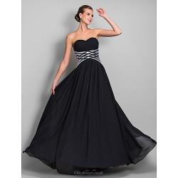 Formal Evening / Military Ball Dress - Black Plus Sizes / Petite Sheath/Column Sweetheart Floor-length Chiffon