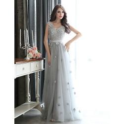 Formal Evening Dress Silver Plus Sizes Sheath Column V Neck Floor Length Tulle