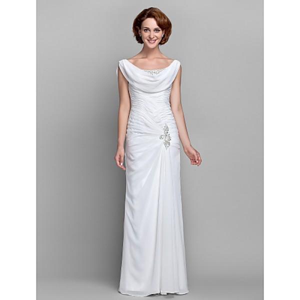 Sheath/Column Plus Sizes / Petite Mother of the Bride Dress - Ivory Floor-length Sleeveless Chiffon Mother Of The Bride Dresses