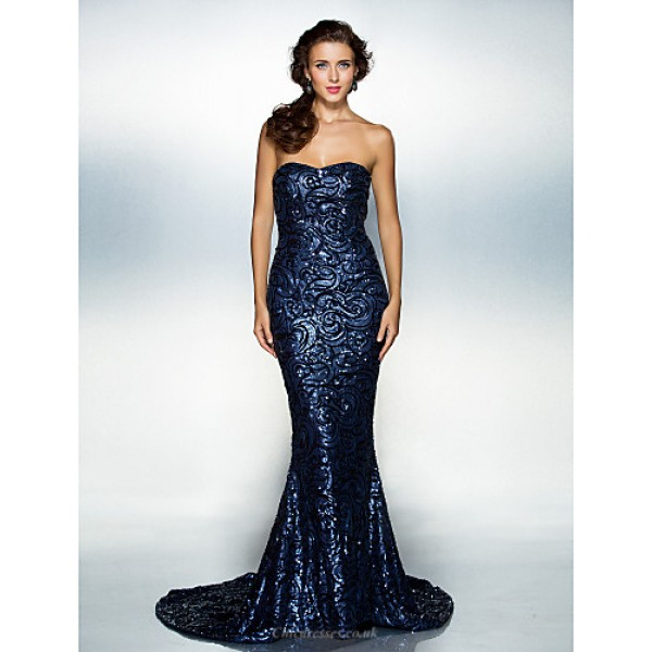TS Couture Formal Evening Dress - Dark Navy Plus Sizes / Petite Trumpet/Mermaid Sweetheart Court Train Sequined Special Occasion Dresses