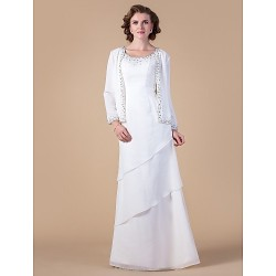 Sheath Column Plus Sizes Petite Mother Of The Bride Dress Ivory Floor Length Long Sleeve Chiffon