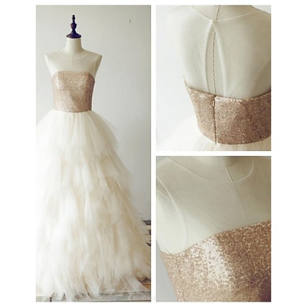Formal Evening Dress - Champagne A-line Scoop Floor-length Tulle / Sequined Special Occasion Dresses