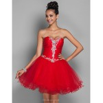 TS Couture Cocktail Party / Prom / Holiday Dress - Ruby Plus Sizes / Petite A-line / Princess Sweetheart Short/Mini Organza / Tulle Special Occasion Dresses