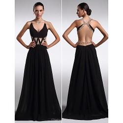 Formal Evening Dress - Black Plus Sizes / Petite Sheath/Column V-neck Floor-length Chiffon