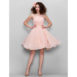 Honeymoon Cocktail Party Formal Evening Sweet 16 Dress Blushing Pink Plus Sizes Petite A Line One Shoulder Knee Length Chiffon