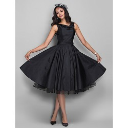 Cocktail Party /  Dress - Black Plus Sizes / Petite A-line Cowl Knee-length Taffeta