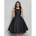 TS Couture Cocktail Party / Dress - Black Plus Sizes / Petite A-line Cowl Knee-length Taffeta Special Occasion Dresses