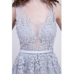Cocktail Party / Formal Evening Dress - Multi-color A-line V-neck Court Train Lace Special Occasion Dresses