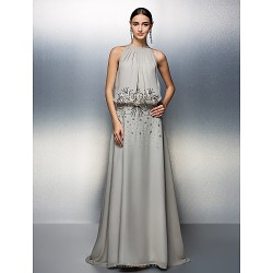 Prom Formal Evening Dress Silver Plus Sizes Petite A Line Jewel Floor Length Chiffon