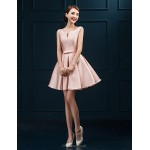 Cocktail Party Dress - Blushing Pink Plus Sizes Ball Gown Scoop Short/Mini Satin Celebrity Dresses