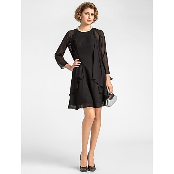 A-line Plus Sizes / Petite Mother of the Bride Dress - Black Knee-length 3/4 Length Sleeve Chiffon Mother Of The Bride Dresses