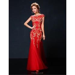Formal Evening Dress Ruby Petite Trumpet Mermaid Jewel Floor Length Tulle Charmeuse