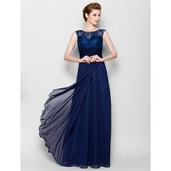 Sheath Column Plus Sizes Petite Mother Of The Bride Dress Dark Navy Floor Length Sleeveless Chiffon Lace