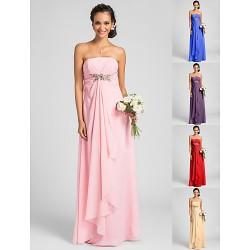 Floor Length Chiffon Bridesmaid Dress Candy Pink Royal Blue Ruby Champagne Grape Plus Sizes Petite Sheath Column Strapless