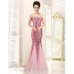 Dress - Fuchsia / Lavender / Dark Navy / Clover / Champagne / Silver / Purple / Sky Blue / Candy Pink Trumpet/Mermaid Strapless Special Occasion Dresses