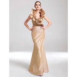 Formal Evening / Military Ball Dress - Champagne Plus Sizes / Petite Trumpet/Mermaid V-neck Floor-length Taffeta