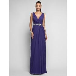 Formal Evening / Prom / Military Ball Dress - Regency Plus Sizes / Petite Sheath/Column V-neck Sweep/Brush Train Chiffon