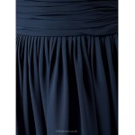TS Couture Formal Evening / Military Ball / Wedding Party Dress - Dark Navy Plus Sizes / Petite Sheath/Column V-neck Floor-length Chiffon Special Occasion Dresses