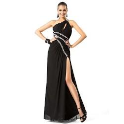 Formal Evening Military Ball Dress Black Plus Sizes Petite Sheath Column One Shoulder Floor Length Chiffon