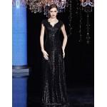 Formal Evening Dress - Gold / Black A-line V-neck Floor-length Sequined Special Occasion Dresses