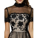 TS Couture Cocktail Party Dress - Black A-line High Neck Knee-length Tulle Special Occasion Dresses