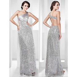 Formal Evening Military Ball Dress Silver Plus Sizes Petite Sheath Column One Shoulder Floor Length Stretch Satin Sequined