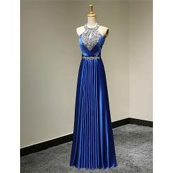 Formal Evening Dress - Royal Blue Plus Sizes / Petite A-line Halter Floor-length Satin