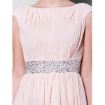 A-line Plus Sizes / Petite Mother of the Bride Dress - Pearl Pink Floor-length Short Sleeve Chiffon Mother Of The Bride Dresses