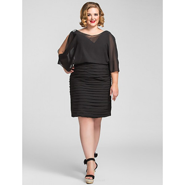 TS Couture Cocktail Party / Holiday Dress - Black Plus Sizes / Petite Sheath/Column V-neck Knee-length Chiffon Special Occasion Dresses