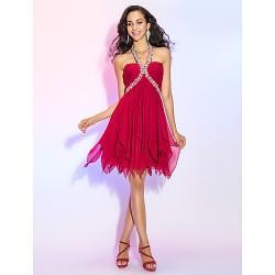 Cocktail Party Prom Dress Burgundy Plus Sizes Petite A Line Princess Halter Short Mini Chiffon