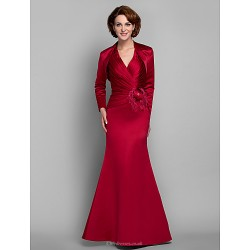Trumpet Mermaid Plus Sizes Petite Mother Of The Bride Dress Ruby Floor Length Long Sleeve Satin