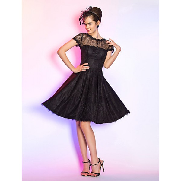 Cocktail Party / Homecoming / Prom Dress - Black Plus Sizes / Petite A-line Jewel Knee-length Lace Special Occasion Dresses