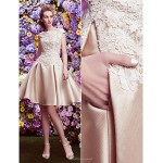 TS Couture Cocktail Party Dress - Champagne A-line Bateau Knee-length Lace / Satin Special Occasion Dresses