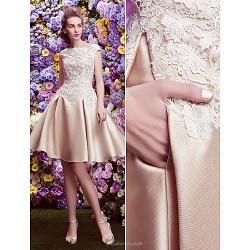 Cocktail Party Dress - Champagne A-line Bateau Knee-length Lace / Satin